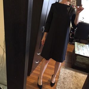 COS Stand up color black cotton dress. Size 6.
